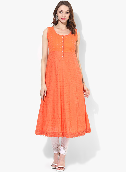 Orange Embroidered Kurta With Lining Rs. 2199/-