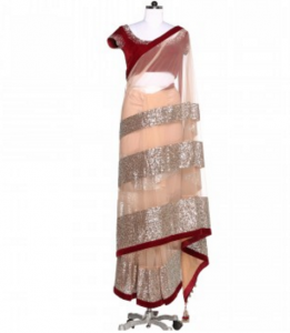 Manish Malhotra Beige Sequined Saree