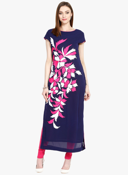 Navy Blue Embroidered Kurta Rs. 2000