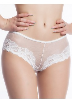 Embroidered Lace Low Waist Cheeky White